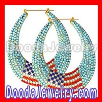 Free Shipping, 2012 Basketball Wives Bamboo Earrings Crystal The Old Glory wholesale, BW6235,  2pcs/lot