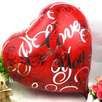 "Free shipping 50pcs/lots wholesales 18 inch heart shape foil balloons , wedding helium balloon , "" I LOVE YOU ""word"