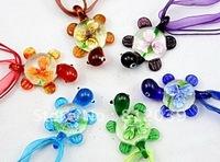 Free-Shipping ,Colourful  Mixed Colour Murano glass  pendant  Sea turtle Coloured Glaze pendant 6pcs /ot BS004