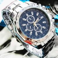 Free shipping brand new luxury steel man watch fashion analog sport quartz blue dial watch for men Stainless STEEL WRIST WATCH