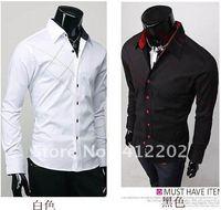 Men's shirt Fashion Casual Slim Fit Stylish cotton Long Sleeve dress shirts Luxury Black M L XL Wholesale Free Shipping (Y124)