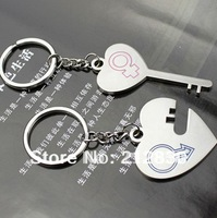 lover Couple Key Ring Chain heart key keyhole gift necklace present bracelet accessories hair(Min.Order is $10,can mixed batch)
