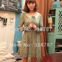 Khaki/green lady casual dress new retro dress free shipping JT1116A