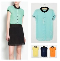 Big sale free shipping Top brand style Popular short sleeve candy color Women figured chiffon Blouses 5 colors SML