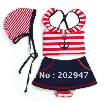 little girl sailor style Swimwear red blue stripes anchor pattern 4pcs /set  w/ swim cap swimsuits chirdren kids pool beach wear