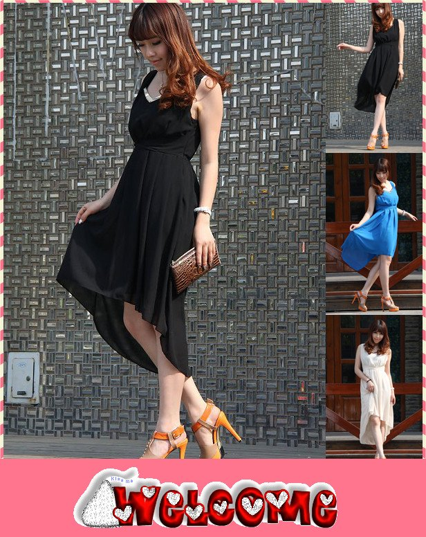 2012 Promotion Sexy Elegant V-Neck Dress Irregular Sweep Sleeveless One-Piece Dress(China (Mainland))