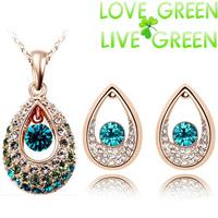 Free Shipping Gift Bag Hotselling Wholesales Zircon 18KGP Crystal Czech Rhinestone Angel Tearl Pendant fashion Jewelry Set 20283