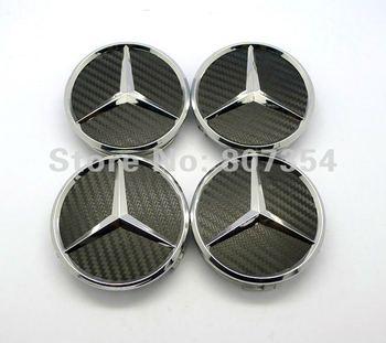 Excellent 4 pcs black Carbon Fiber Wheel Center Hub Caps Cover car Emblem sticker for MERCEDES Benz C E S CL ML SL 75mm logo