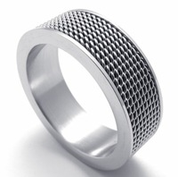 8MM Width 316L Stainless Steel Siliverish Popular  Mesh Screen Wedding Band Ring SZ#6-12