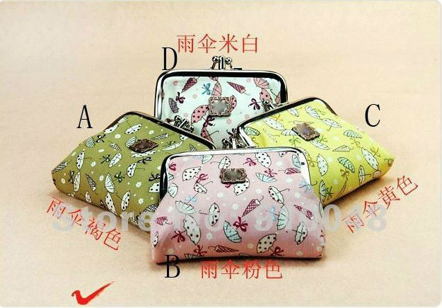 Cartoon umbrella coin bag 12 pcs /lot, 4 colours for choice/ wholesale & retail / free shipping(China (Mainland))