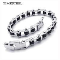 TSB076159 Fashion Men's Bike Chain Bracelet 316L Stainless Steel Silicone Bracelet 8.5 inch