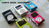MOQ:1pcs,Clip MP3+USB Cable+Earphone+Retail box with screen and FM Radio,HK post free shipping D0013