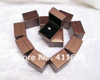 High-end 12 pieces Ring Jewelry Box Brown Leatherette Paper Chirstmas Gift Box Wholesale