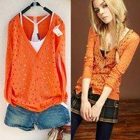 Summer women's sweater loose thin long-sleeve outerwear Teardrop hollow medium-long cardigan knitwear