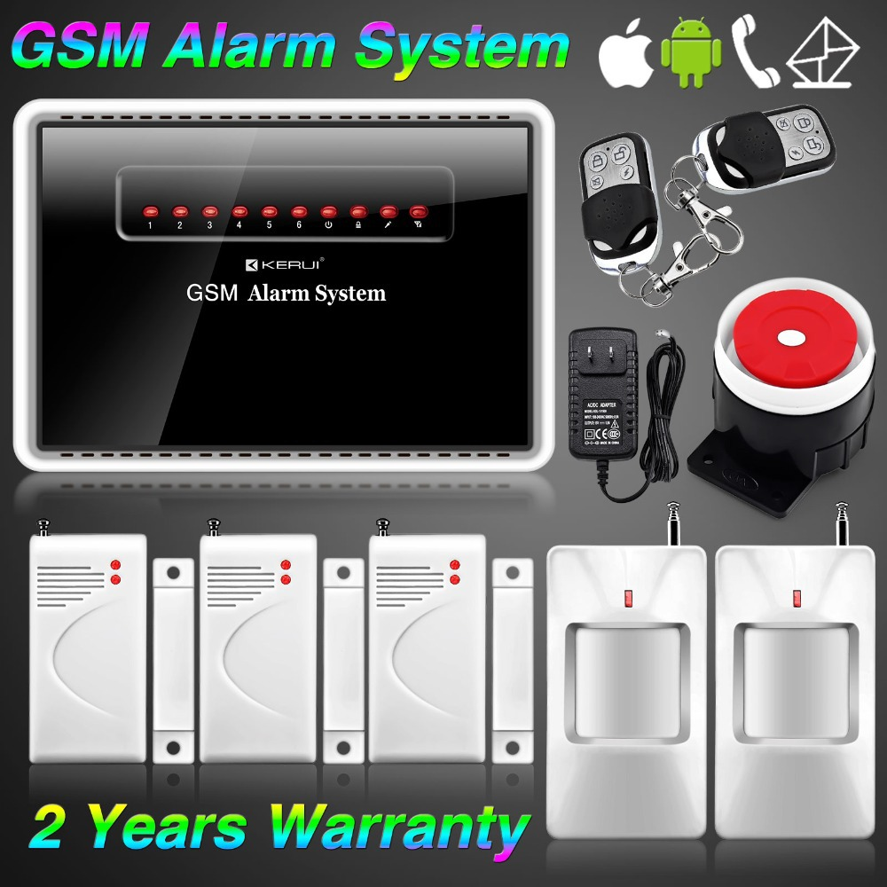Free shipping!Wireless Wired Burglar GSM SMS Home Security Alarm System Calling KERUI APP ANDRIOD(China (Mainland))