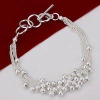 H030 Wholesale Beads multilayer ID Silver Bracelets 925 de prata pulseras innovative items women mujer