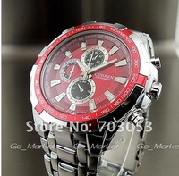 1PC NEW WATER CLOCK HOURS DIAL RED ANALOG LUXURY SPORT MEN STEEL WRIST WATCH