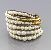 New Arrival vintage Style weaving leather 5 wrap bracelet african jewelry pearl bead bracelet,adjusted size Free Shipping CL71