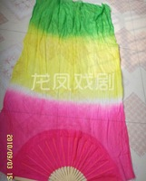 PAIRS  BELLY DANCE  FAN VEILS 100% 5mm SILK  hand-dyed 3 Colors transition 1.8m