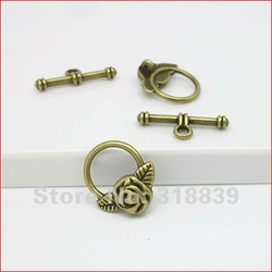 40sets/lot Flower Alloy Antique Bronze Toggle Clasp Jewelry Findings Vintage Jewelry OT Clasps 0396(China (Mainland))