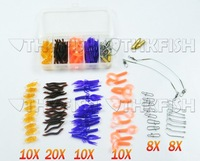 Sale! 70Pcs In 1 Box Pack Fresh Water Fishing Snap Soft Lure Wire Leader Hooks utility Tackle Box Set Kit Shrimp Lure