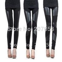Faux leather trousers fashion faux leather pants patchwork legging female black trousers pants