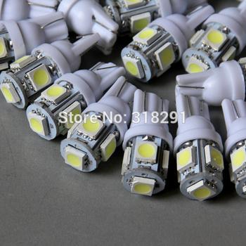 Wholesale 300pcs white 194 168 192 W5W T10  5 smd w5w 5050 led super bright Auto led car lights