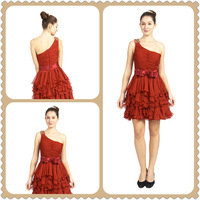 Mini fashion One-shoulder Layers Petticoat dress with belt & Beaded Prom Dress ZR12184