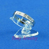 Free Shipping 30 Economic Clear View Plastic Ring Display Stand Holder 120709YB-RS01