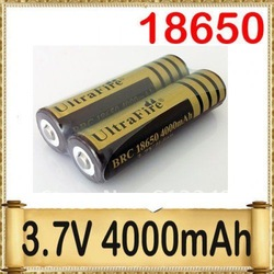 UltraFire BRC 18650 3.7V 4000mAh Gold Rechargeable Li-ion Battery - 2 Batteries per Pack(Hong Kong)