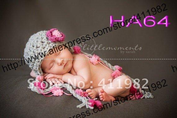 free shipping,New Style Baby's Handmade Knit 100% Cotton hats,Girl's tassel flower crochet hat 50pcs/lot(China (Mainland))