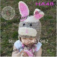 free shipping,1pcs/lot handmade Caps baby knitting beanies flower rabbit hat baby crochet embroider Hat.