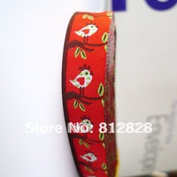 20 Meters 5/8'' 16mm width Single Face Love Birds Red tone Woven Jacquard Ribbon Free shipping via  For Combine Order $150+
