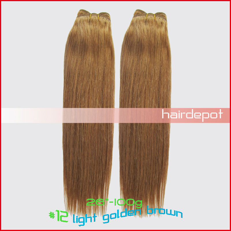 "6x 26"" #12 BRAZIL Hair Weft 100g/pack light golden brown REMY Quality Human Hair Weaving Extensions SilkySoft Straight MIX Order(China (Mainland))"