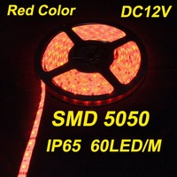 Fast Shipping, 5M 300LED DC12V 14.4W Waterproof IP65 Red Color Strip Light SMD 5050,Led Rope String light, Retail,Wholesale