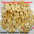 400pcs mixed painting wooden cartoons cloth sewing buttons jewelry ACCESSORIES CRAFTS charms WCB-042