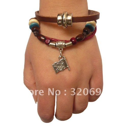 Kawaii retro leather unique style bracelet Caribbean Pirate Flag(China (Mainland))
