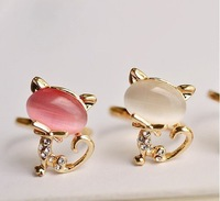Wholesale Fashion costume Jewelry Rings Vintage Big crystal rhinestone Cat finger Ring (Purple Green Blue White Pink) RJ315
