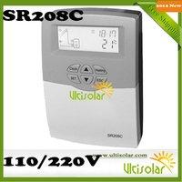 2012 New Version SR208C split solar water heater controller free shipping 600W 1 pt1000 and 2 ntc10k sensors 2 relays 220v 110v