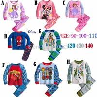2014 boy girl pajamas set kids clothes set long sleeve clothing set cotton t shirt + pants cartoon underwear 6pcs/lot kids wear