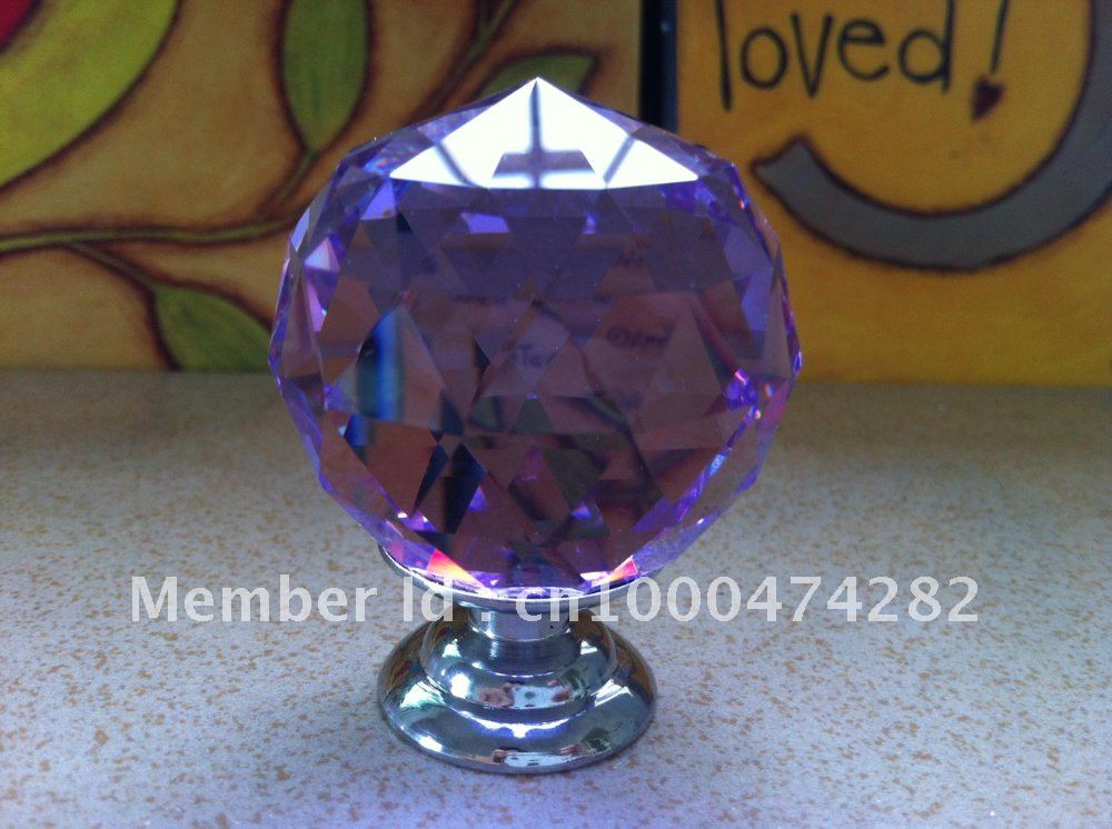( $10 off per $100) Free shipping 20Pcs/Lot 40mm Purple Crystal Glass Chrome Handle With Chrome Zinc Base(China (Mainland))