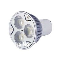 Shop Parcel FREE SHIPPIN GU10 3W 240-270LM 3000-3500K Warm White 3-LED Spot Light Bulb - Silver + White (85~265V)