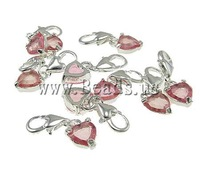 Free Shipping heart Shaple Fashion Zinc Alloy with glass cabochon lobster clasp Charms