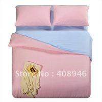 $10 off per $100 order 120226  free shipping wholesale- 40s 100% Sateen cotton pink+blue  color  4pcs duvet cover/bedding set