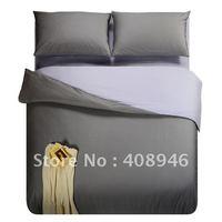 120222 Fedex free shipping! wholesale- 40s 100% Sateen cotton Dark + light gray  color luxury bedding set / 4pcs duvet cover
