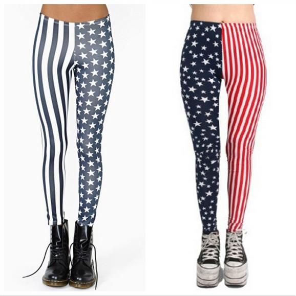 Женские носки и Колготки East Knitting B44 New Fashion Women USA American Flag Stripe Space Star Print Leggings Legwear pants