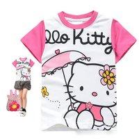 girls t shirt cartoon kitty t shirt,pure cotton t-shirt wholesale,6pcs/lot mix full size free shipping It hot sell!
