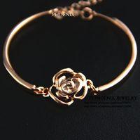 HEB004 Wholesale 14K rose Gold Plated Women hot Daisy Flowers Bangles & Bracelets Pulseiras Femininas Pulseras Mujer
