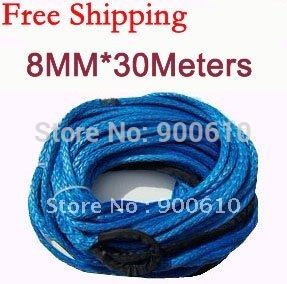 New Strong 100% UHMWPE Synthetic Winch Cable/Rope 8MM*30Meter w/t for 4WD/ATV/UTV/SUV Winch Use////free shipping(China (Mainland))