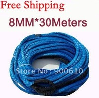 New Strong 100% UHMWPE Synthetic Winch Cable/Rope 8MM*30Meter w/t for 4WD/ATV/UTV/SUV Winch Use////free shipping